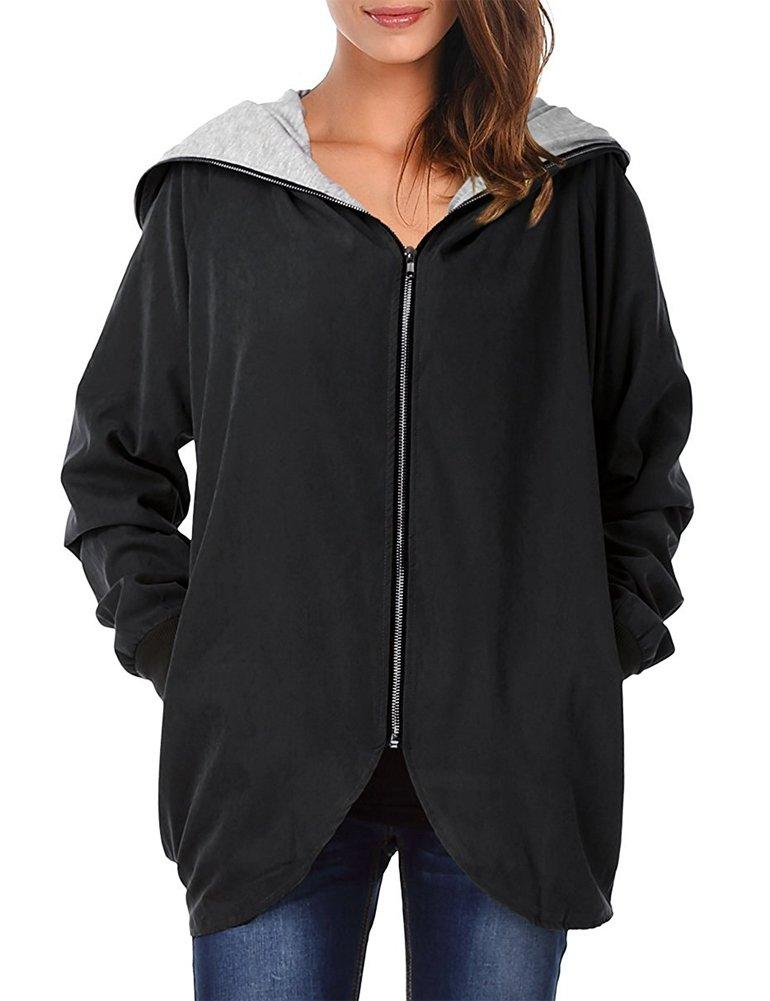 Romacci Women's Hooded Zip-up Lightweight Casual Loose Coat Jacket