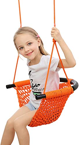 Uquer Kids Swing, Heavy Duty Hand Woven Swing Seat for Children, Perfect for Playground, Indoor and Outdoor, with Snap Hooks and Swing Straps, 200KG 440LBS Capacity Orange
