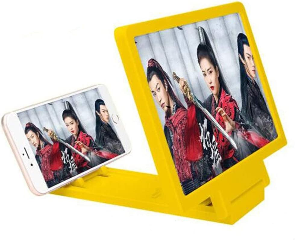 Chengjinxiang Mobile Phone Screen Amplifier Mobile Video HD 3D Magnifier Projector Foldable Lazy Man Chasing Artifact Universal Phone Holder Yellow,Eye Health Color : Yellow, Size : 12 inches