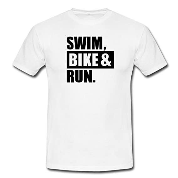 f36fe19336465 Spreadshirt Triathlon Swim Bike Run T-Shirt Homme  Amazon.fr ...