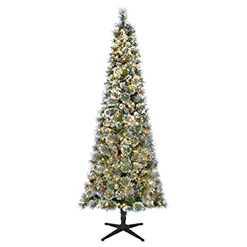 Pre-Lit LED Sparkling Pine Slim Artificial Christmas Tree - Amazon.com: Home Accents Holiday 7 Ft. Pre-Lit LED Sparkling Pine
