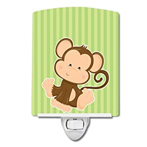 Caroline's Treasures Monkey Ceramic Night Light, Stripes, Green, 6