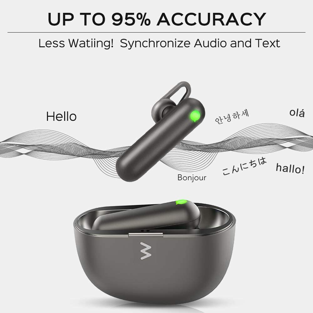Voice Translator Earbuds Fit for iOS /& Android w//Charging Case Wireless Bluetooth Translator with APP Timekettle WT2 Language Translator Real Time Translation Supports 40 Languages /& 93 Accents