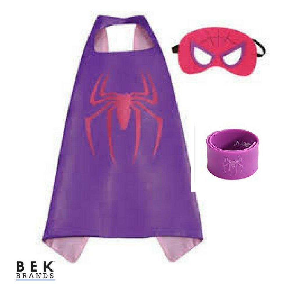 Bek Brands Spidergirl with Snap Bracelet Superhero Cape and Mask Set Dress up Satin Cape and Felt Mask