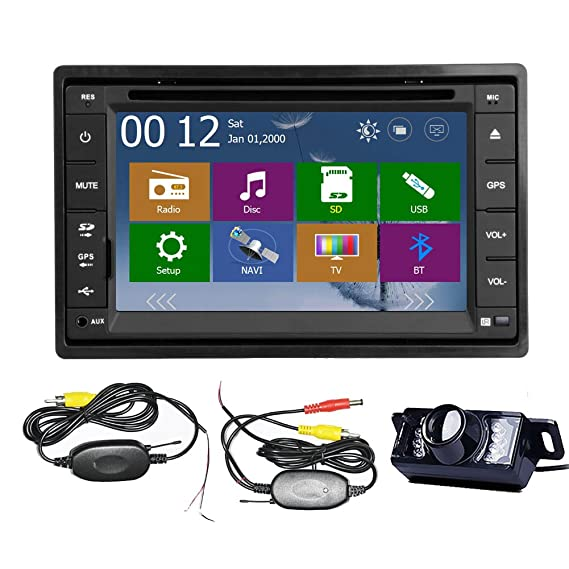 Car Autoradio 2 DIN Stereo In Dash GPS Navigation System CD DVD MP3 Player Touch screen