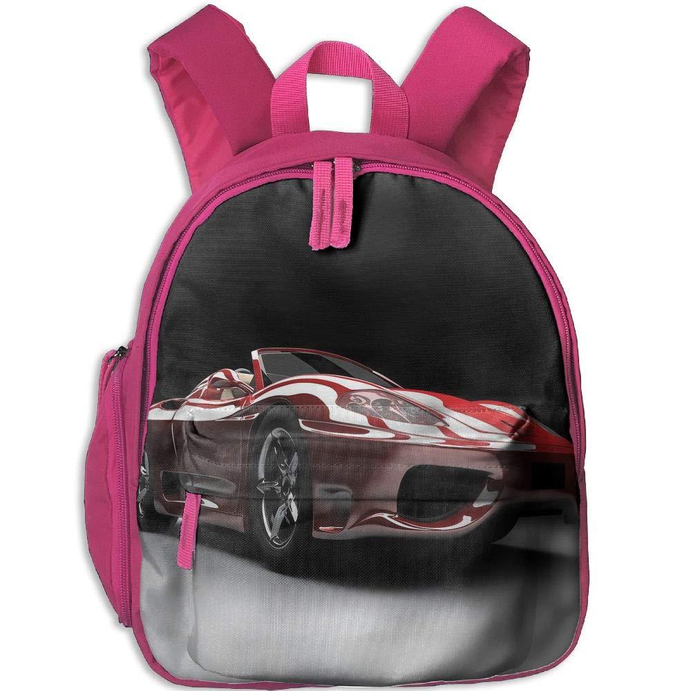Haixia 子供 男の子 女の子 ブックバッグ ポケット付き 車 自動車 業界テーマ パワフルエンジン 高速技術 プレステージ パフォーマンス 装飾 レッド ブラック ホワイト One Size ピンク B07GYQGFTB