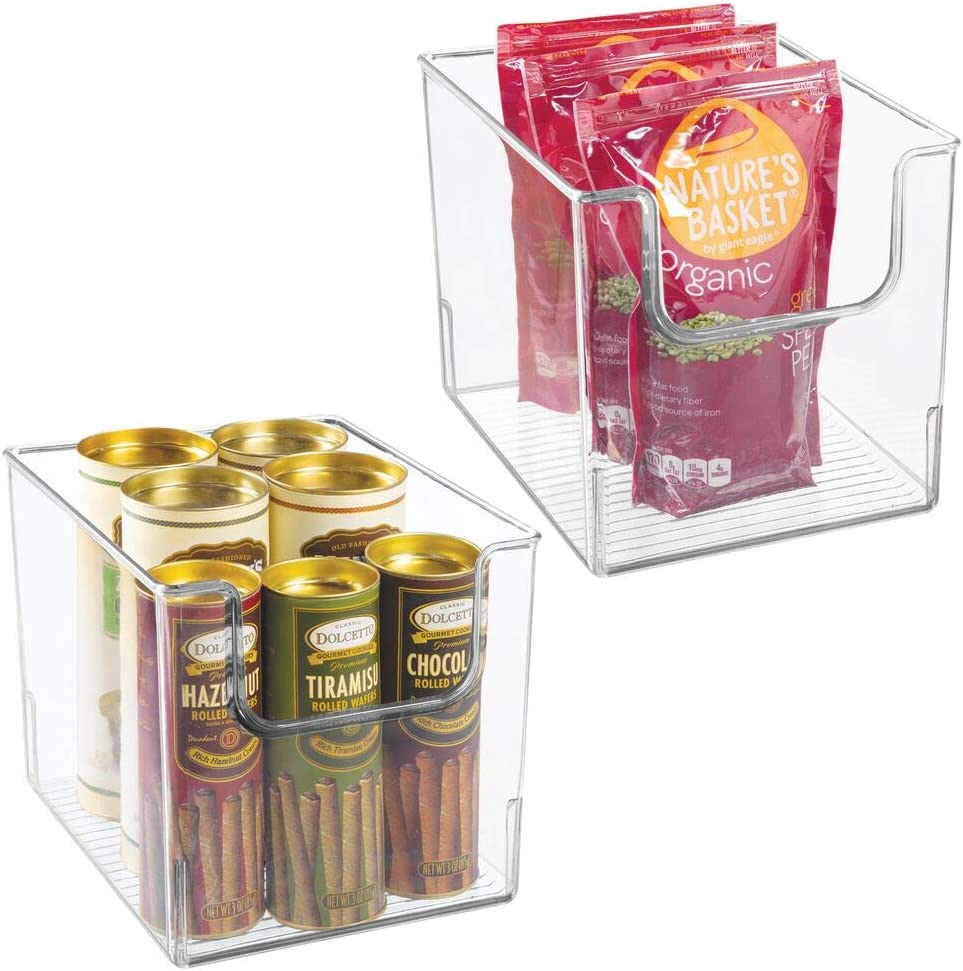 mDesign Set of 2 Storage Trays – Open Top Kitchen Tray for Food Storage Made of Plastic – Ideal in The Kitchen Cupboards or as Fridge Boxes – Clear