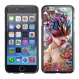 Be Good Phone Accessory // Dura Cáscara cubierta Protectora Caso Carcasa Funda de Protección para Apple Iphone 6 // Art Lick Woman Butterfly Spring Abstract