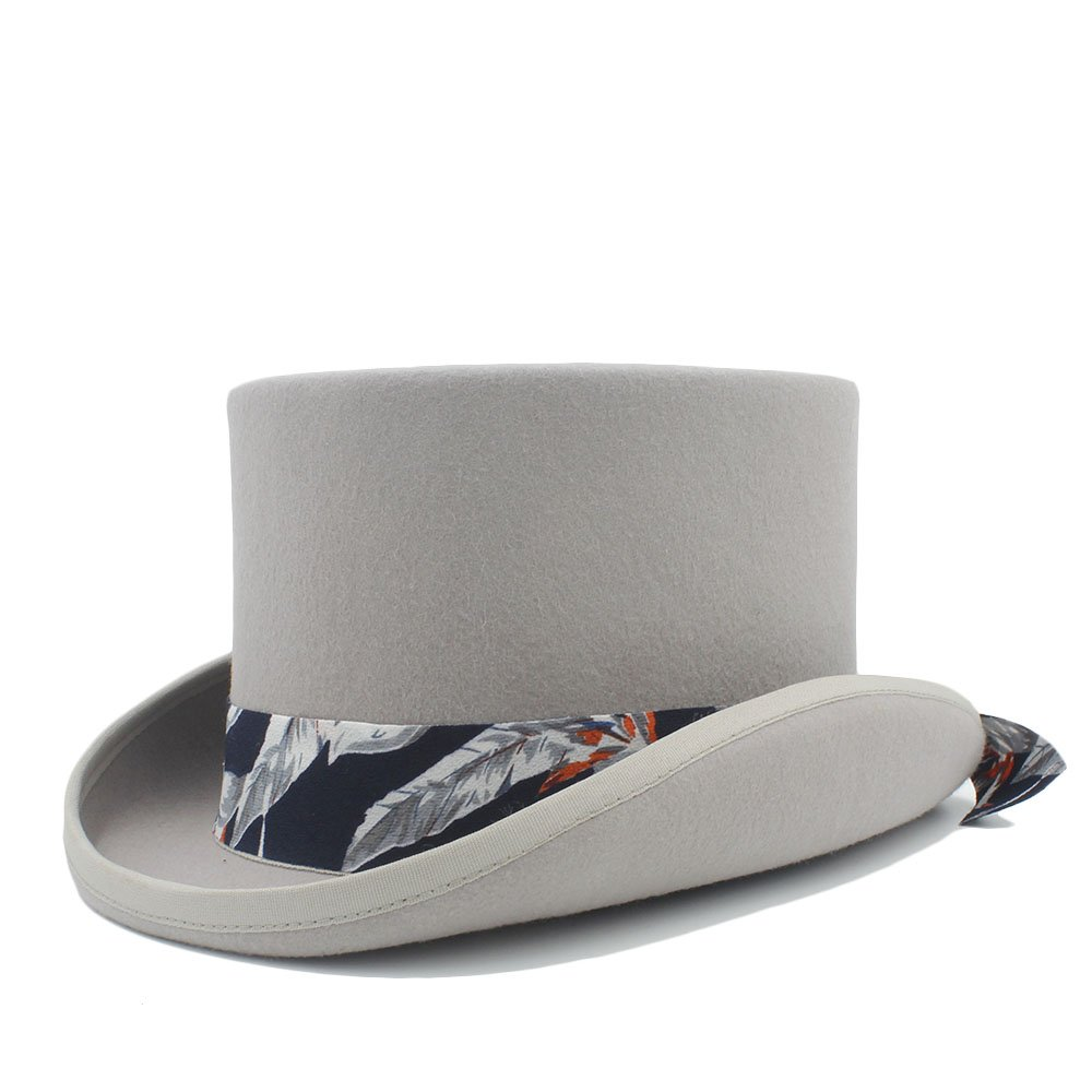 LL Women's Steampunk Top Hat with Blue Pattern Cloth Hat (Color : Gray, Size : 59CM)