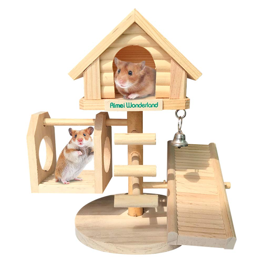 Dwarf Hamster House Durable Odorless Deluxe Two Layers Wooden Hut for Hamster Toys Syrian Hamster House Natural Living Wooden Castle, DIY Small Animal Playground by Hamiledyi