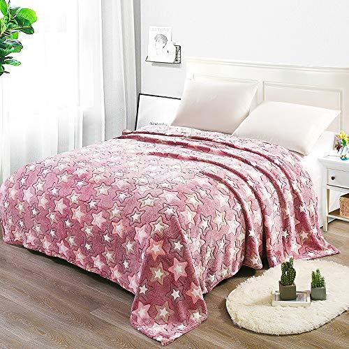 i-baby Manta Franela Grande para Adulto Cama Sofa Manta de Fina Lana l Estampado Decorativo de Estrella de Terciopelo Super Suave (Rosado, 180x200cm)