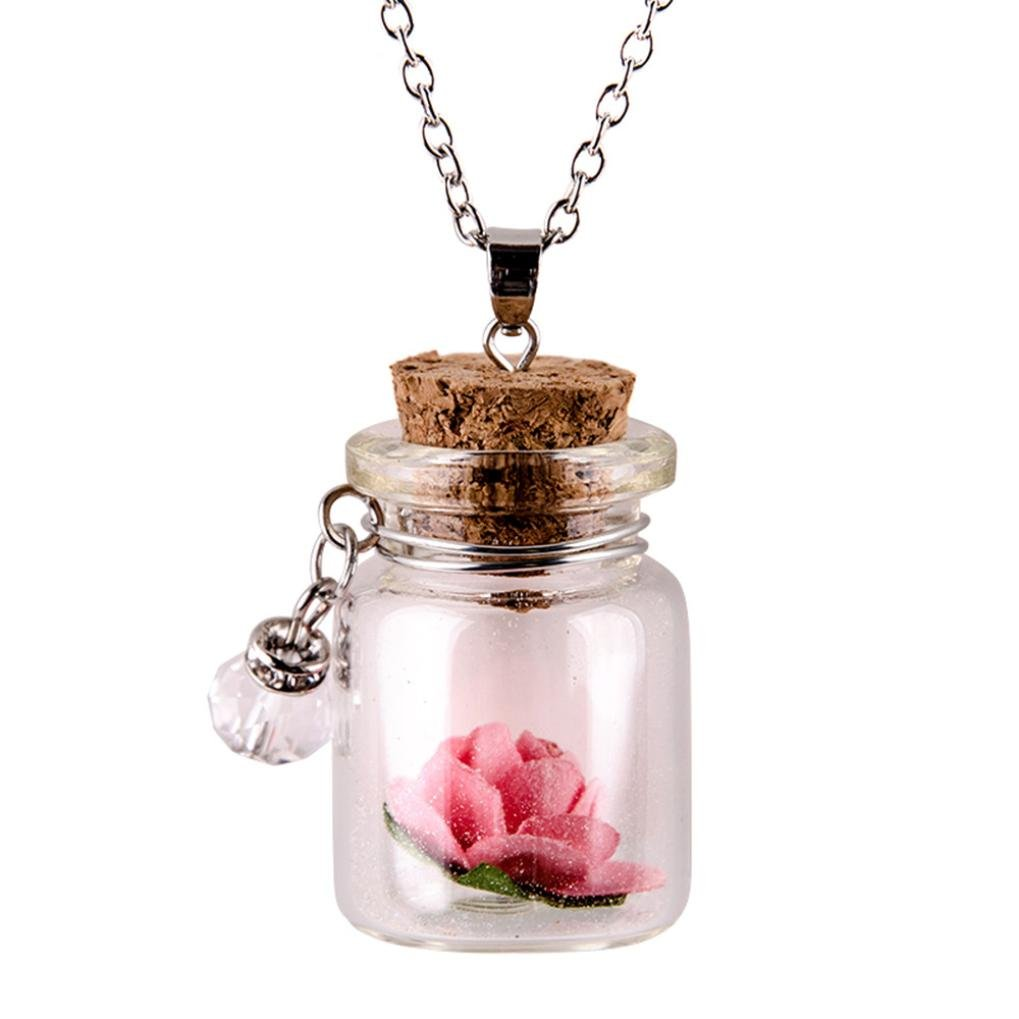 Lavany Long Chain Necklace With Glow in the Dark Flower Glass Tiny Wishing Bottle Pendant Jewelry (Pink)