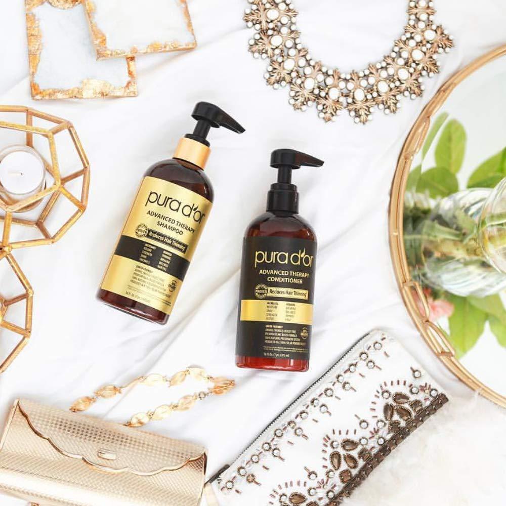 Pura D or avanzado sistema de terapia Champú y Acondicionador reduce para entresacar más gruesa cabeza de pelo, licores con Premium Orgánica Aceite ...