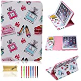 iPad Mini Case, Dteck(TM) Cartoon Cute Design PU Leather Flip Stand Case with [Cards Slot&Money Holder] Full Body Protective Cover for Apple iPad Mini 3/2/1 (02 Perfume&High heels)