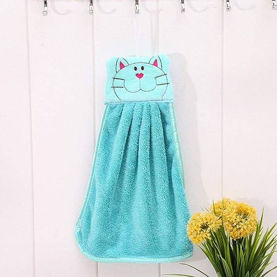 BESTOMZ Toalla de Mano de guardería Felpa de Dibujos Animados Gato Colgando Toallitas de baño Encantador (Azul Claro): Amazon.es: Hogar