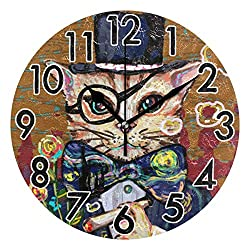 Chic Houses 8 Inch Wall Clock Cat Clock Cute Animal Bathroom Kitchen Wall Clock Art Oil Painting for Kids Non Ticking Quiet Easy to Read for Bedroom Decor Round Clock 2030754