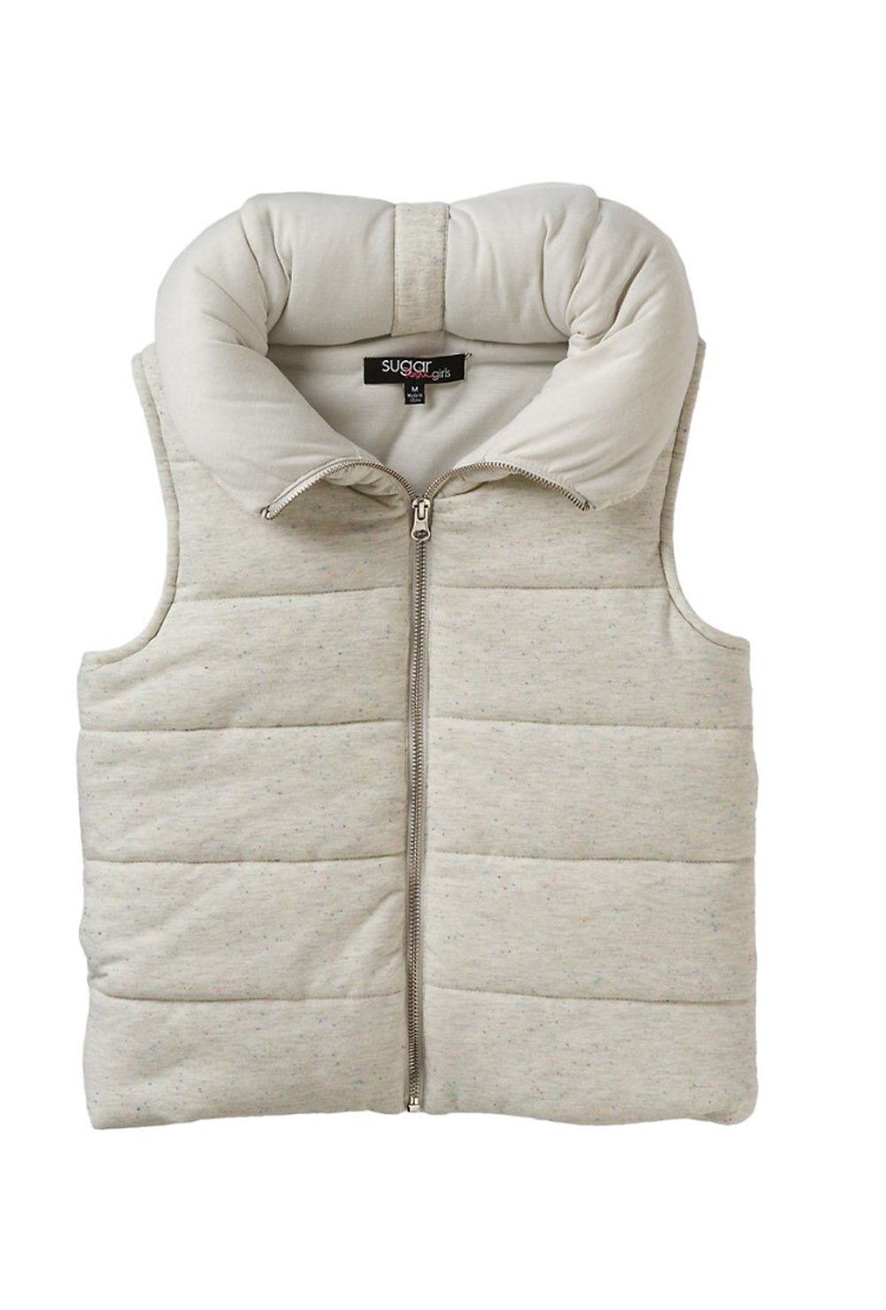 Sugar Rush Girls Speckled Hooded Puffer Vest (Large, Oatmeal Nep) by Sugar Rush (Image #2)