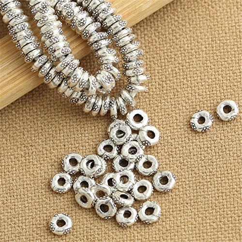 Luoyi 10pcs Handmade Thai Sterling Silver Bead Spacers, 62mm, Hole:2mm (S075G) (Thai Silver Beads)