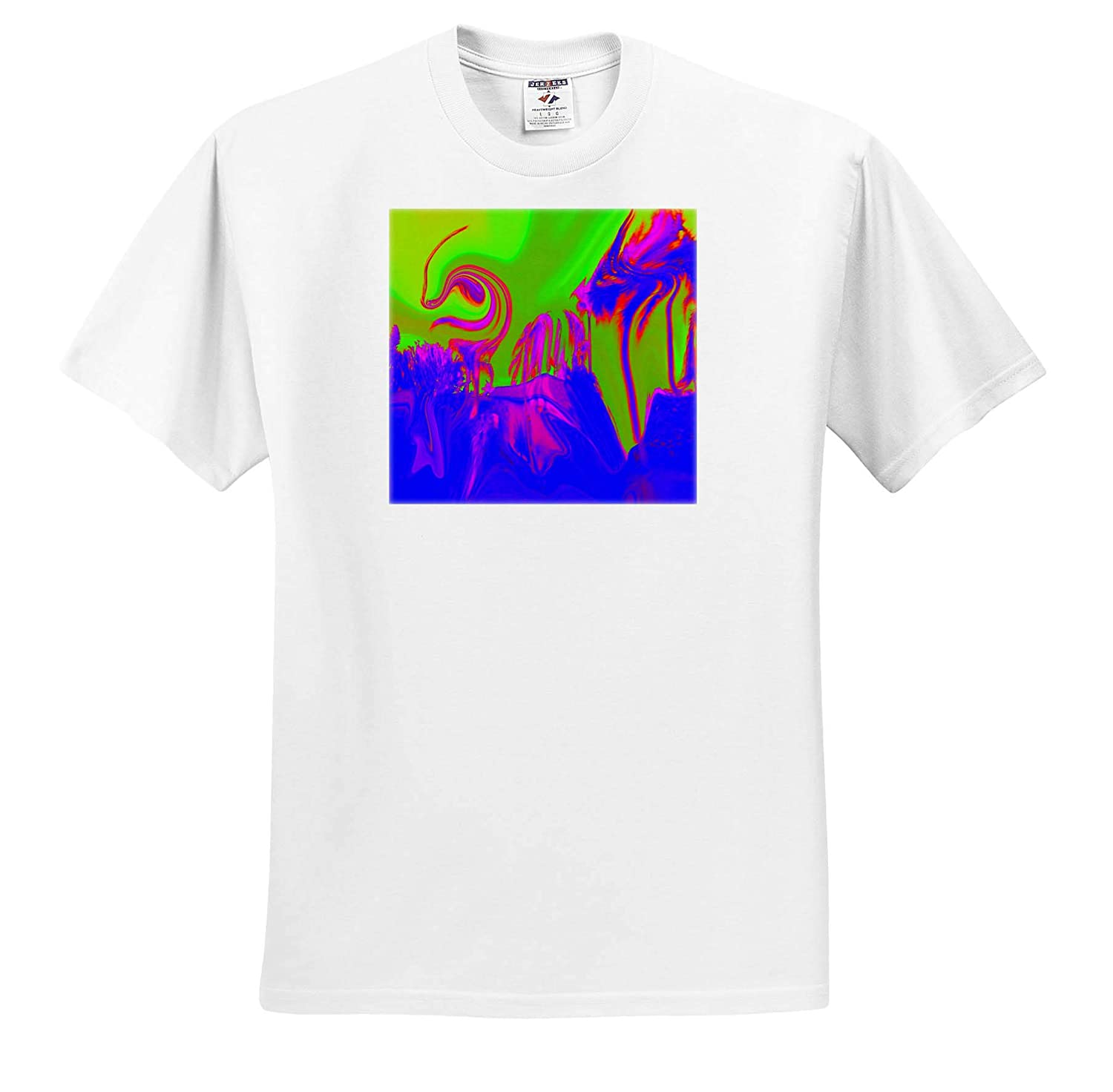 Image of Tornado Swirl and Palm in Blue Fuchsia and Lime T-Shirts 3dRose Lens Art by Florene Digital Paintings