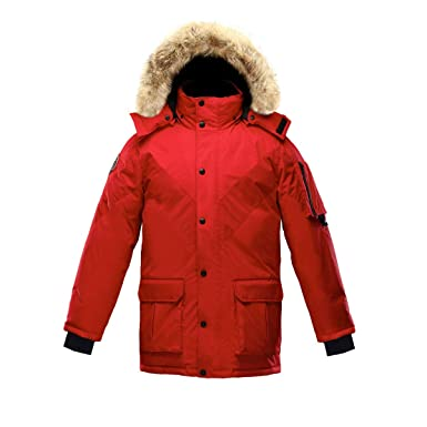e434494a962a Triple F.A.T. Goose Hesselberg Mens Goose Down Jacket with Real Coyote Fur ( Red)
