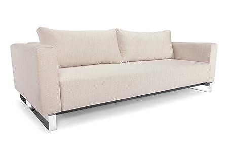 Etonnant Cassius Sleek Modern Sofa Bed 55u0026quot; X 91u0026quot; NATURAL KHAKI, CHROME  LEGSU.