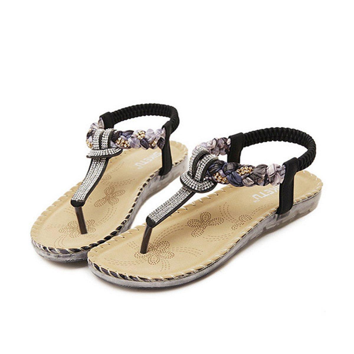 ffb5b4f239365 gracosy Women's Sandals Summer Beach Flat Gladiator Strappy Sandals Flip  Flops Shoe Roman Open Toe Boho Thongs Sandal Ladies Ankle Strap Outdoor  Anti ...