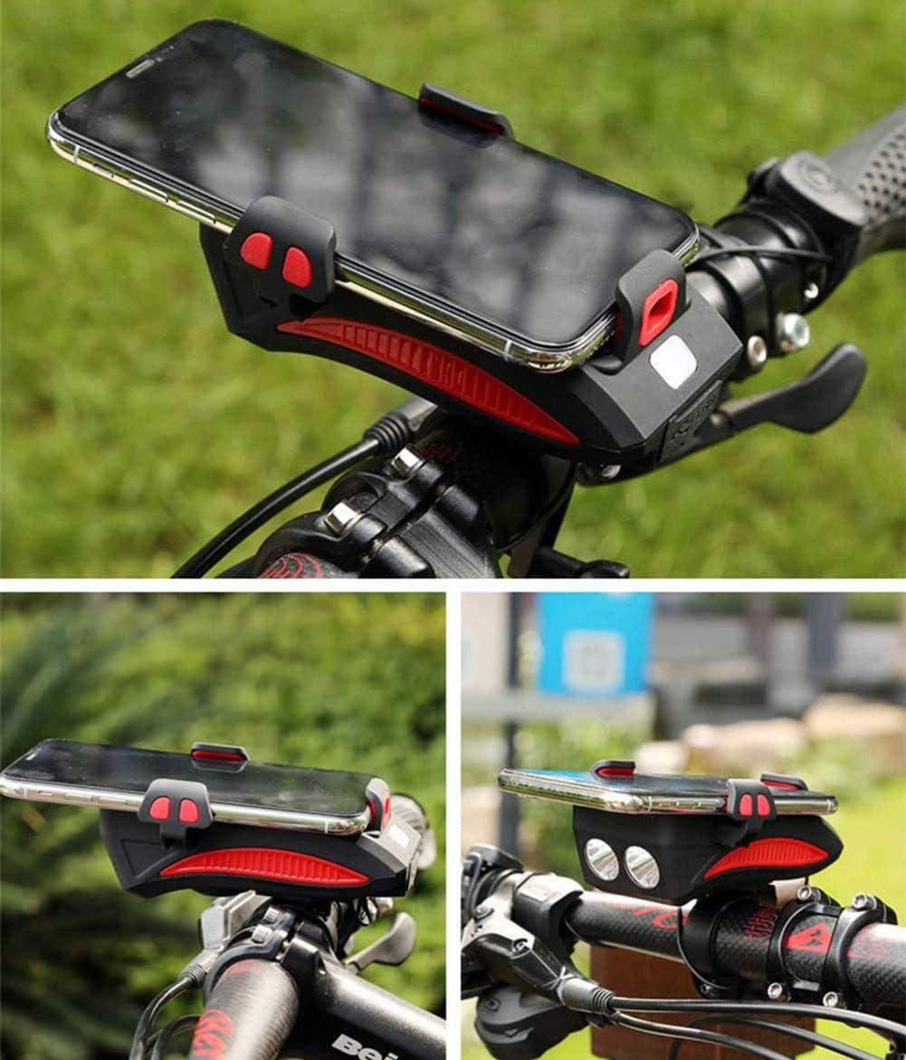 YGWLWL Luce per Bicicletta Multifunzione,Supporto per Telefono Cellulare Multifunzione 4-in-1 Luce Abbagliante con Clacson E Power Bank per Smartphone da 4A 6,5