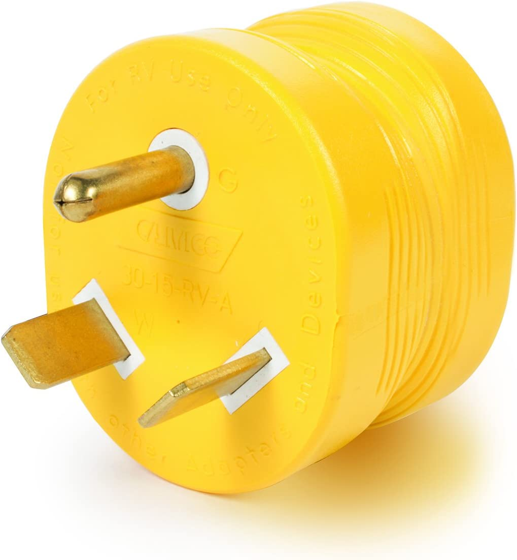 Camco PowerGrip Durable Electrical Adapter - Easy Grip for Simple and Safe Use, 30 AMP Male 15 AMP Female (55233), Yellow|Yellow: Automotive