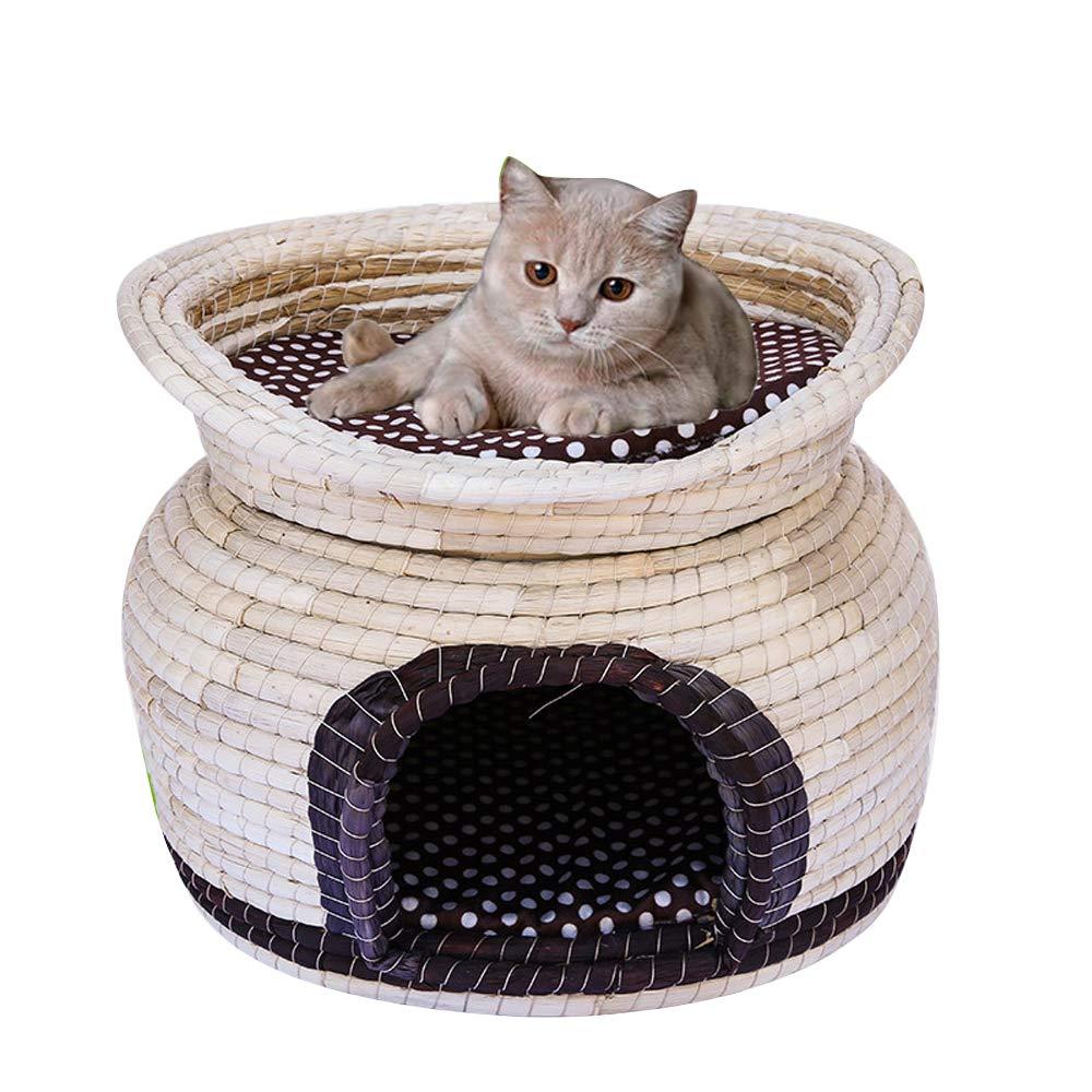 ダブル猫の巣四季猫ベッド、籐の別荘、猫の家、犬小屋、猫ケージ、ペット冬用品を閉じた B07QJVS85F