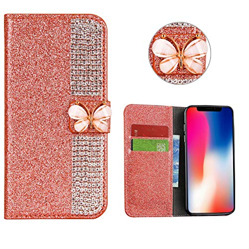 for Huawei P30 Case LAPOPNUT Luxury Bling Glitter Diamond Flip PU Leather Case 23D Butterfly Rhinestone Magnetic Wallet Case Protective with Card Holder Stand Cover,Rose Gold ()