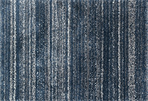 3' Pewter Area Rug - Loloi Rugs QNCYQC-05NVPW Quincy Shag Collection Area Rug, 1'-6
