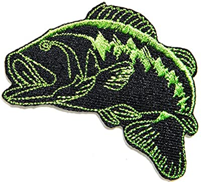 Bass Fishing Sport Fish Lure Hook Logo Jacket T shirt Patch Sew Iron on Embroidered Badge Sign Costum