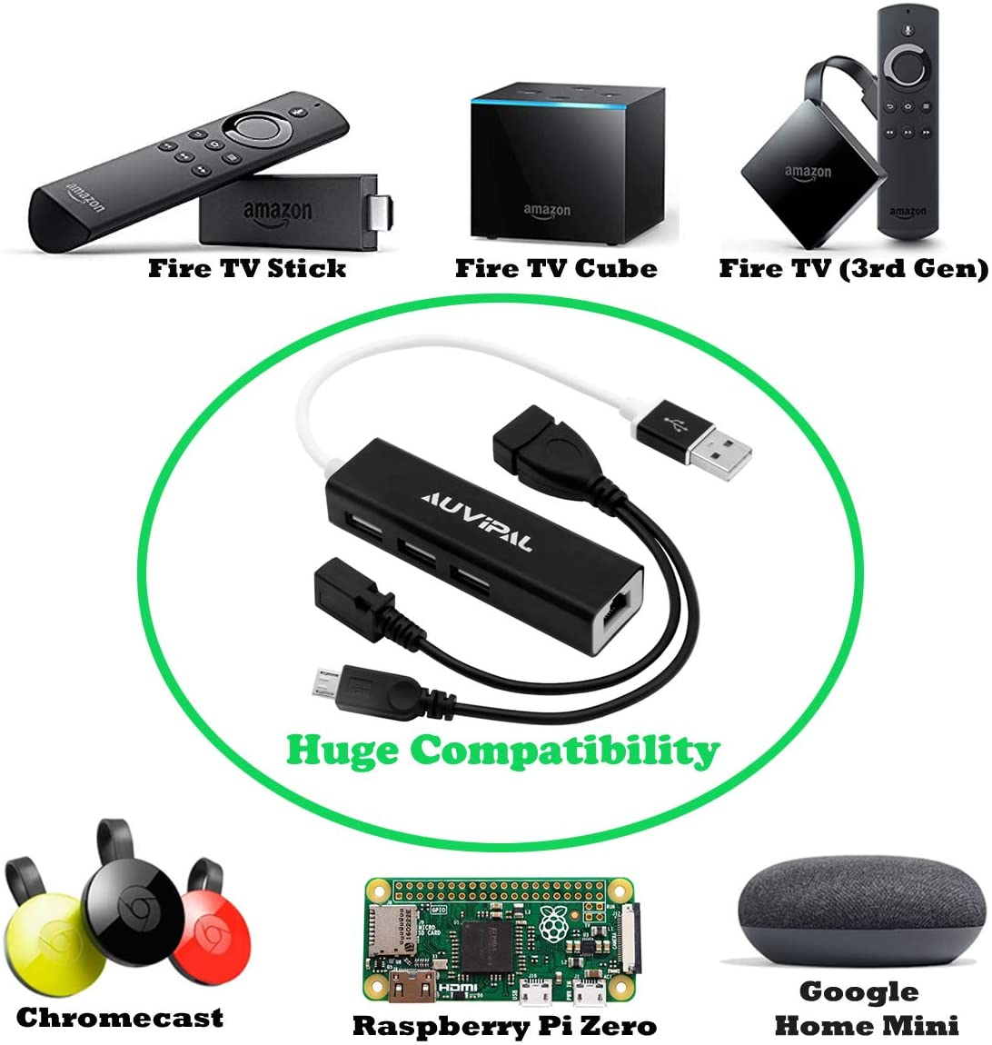 Raspberry Pi Zero AuviPal LAN Ethernet Adapter with 3 Ports USB OTG Hub for Streaming TV Stick Powered Micro USB OTG Cable Included Chromecast Google Home Mini