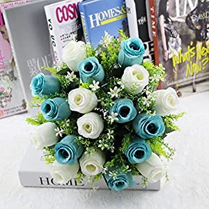 Yu2d  18Head Artificial Silk Roses Flowers Bridal Bouquet Rose Home Wedding Decor (Multicolor) 32