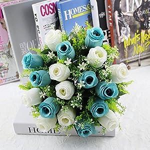 Yu2d  18Head Artificial Silk Roses Flowers Bridal Bouquet Rose Home Wedding Decor (Multicolor) 58