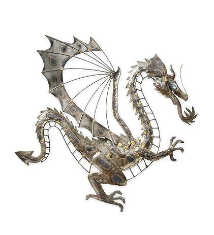 Amazon.com: Recycled Metal Gray Dragon Wall Art: Wall Art
