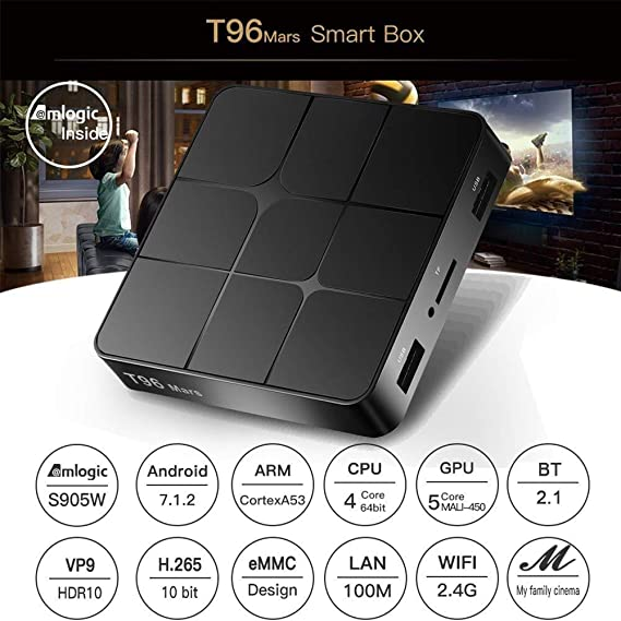 Caja de TV T96 Mars Smart Android 7.1.2 TV Box Amlogic S905W Quad Core H.265 VP9 HDR10 1GB / 8GB Full HD 1080P WiFi LAN BT2.1 HD Smart Media Player Enchufe del