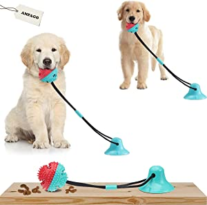 AMFAGO Dog Chew Toys, Dogs Training Treats Teething Rope Toys with Suction Cup for Boredom, Dog Puzzle Treat Food Dispensing Ball Toy, Teeth Cleaning Toy for Dogs , Suitable for Small Large Dogs