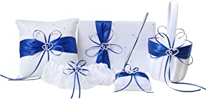 AmaJOY 5pcs Sets Wedding Guest Book + Pen Set + Flower Basket + Ring Pillow + Garter, White Cover, Double Heart Rhinestone Decor Royal Blue Ribbon Bowknot Elegant Wedding Ceremony