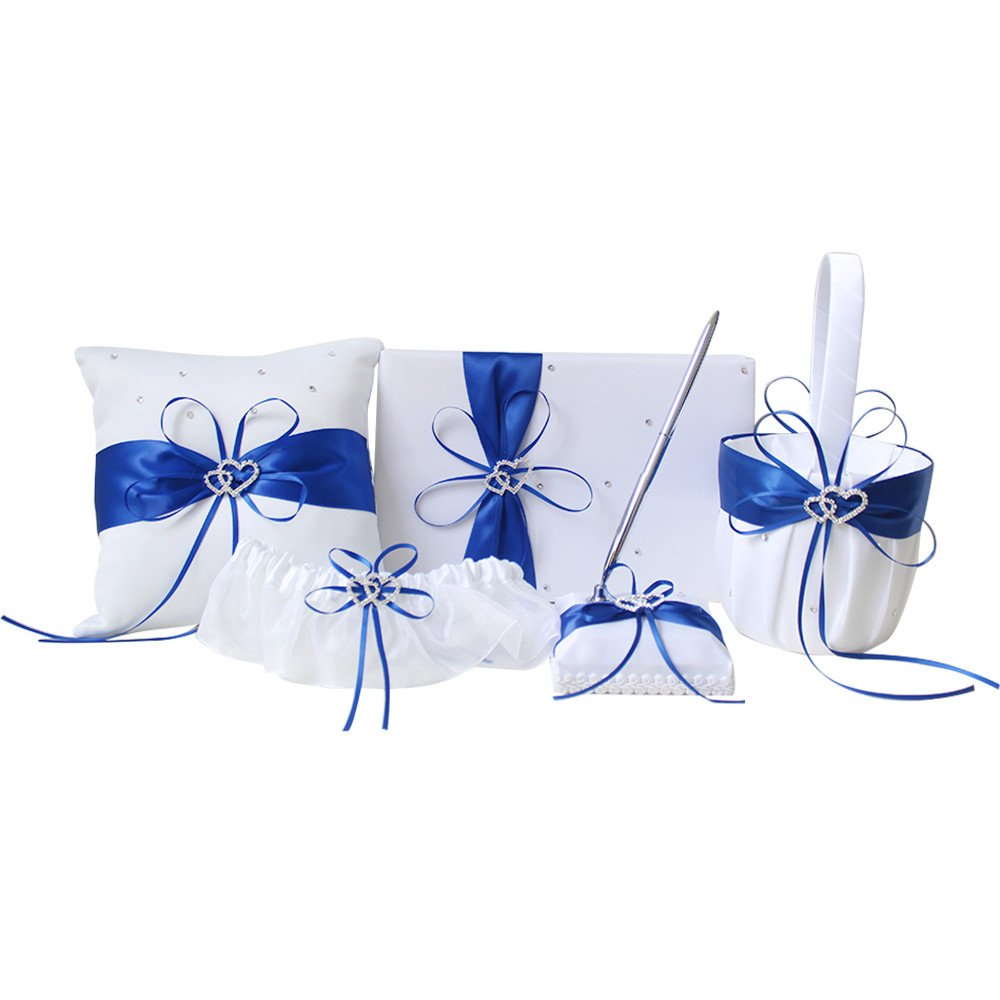 AmaJOY 5pcs Sets Wedding Guest Book + Pen Set + Flower Basket + Ring Pillow + Garter, White Cover, Double Heart Rhinestone Decor Royal Blue Ribbon Bowknot Elegant Wedding Ceremony