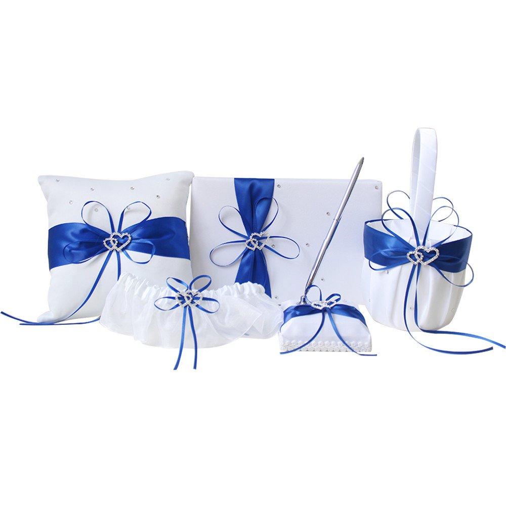 AmaJOY 5pcs Sets Wedding Guest Book + Pen Set + Flower Basket + Ring Pillow + Garter, White Cover, Double Heart Rhinestone Decor Royal Blue Ribbon Bowknot Elegant Wedding Ceremony by Amajoy