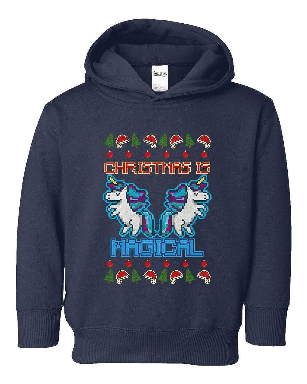 Societee Christmas is Magical Unicorn Ugly Christmas Girls Boys Toddler Hooded Sweatshirt