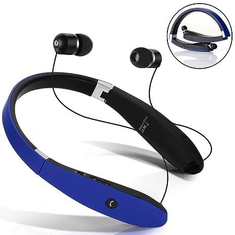 Auriculares Bluetooth 4.1, Auriculares Deportivos con Earbud Retráctiles, Plegable Cascos Inalámbrico con Sonido Estéreo