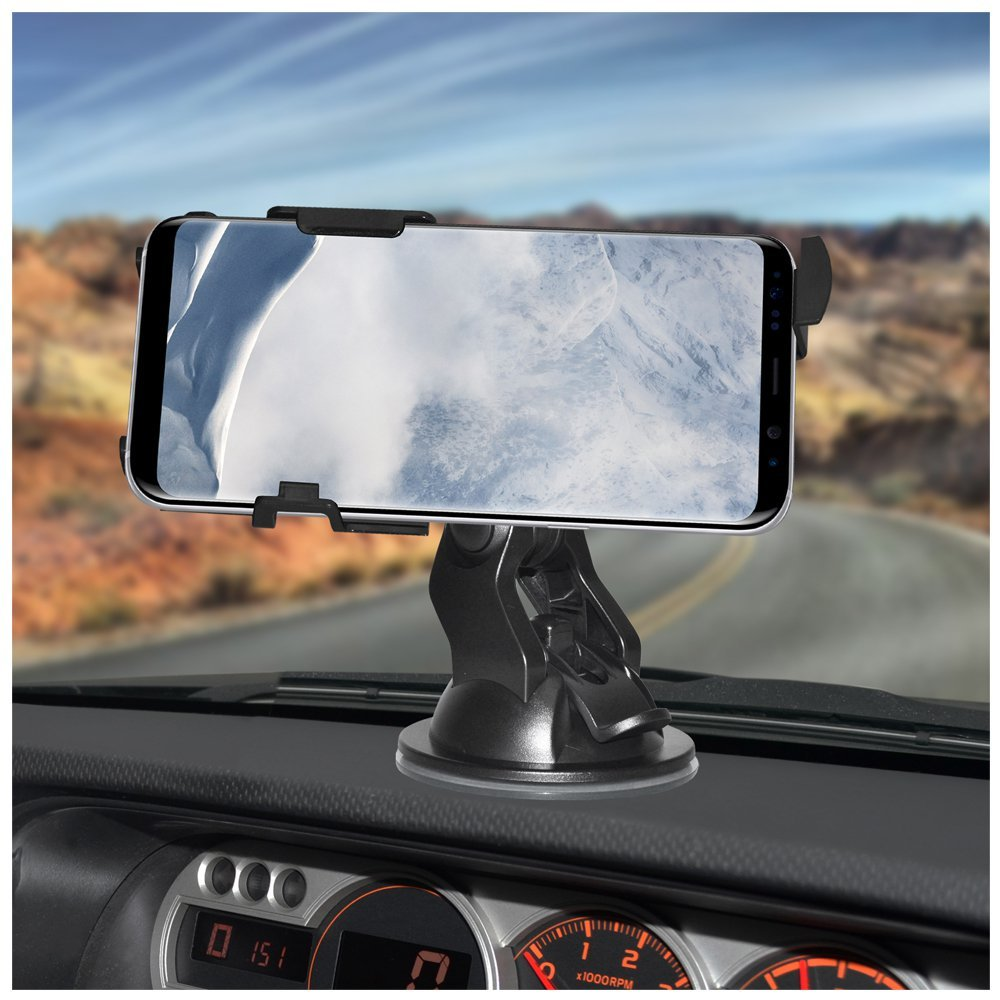 Dash AMZER Slim Suction Cup Vehicle Car Mount Holder for Windshield Suction Mount Console Car Mount for Samsung Galaxy S8 Plus