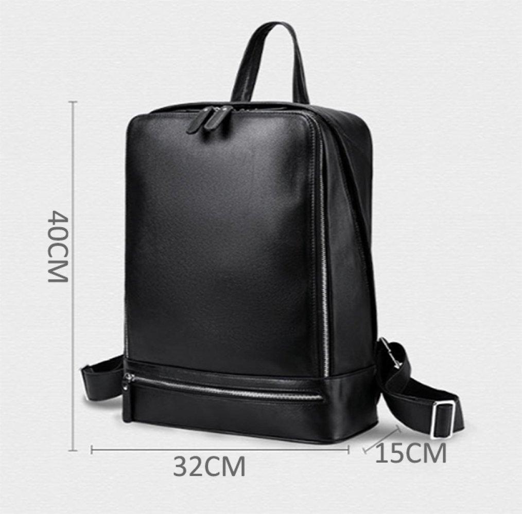 Mens Leather Backpack Briefcase 14-inch Computer Bag Backpack School Bag,Black-OneSize
