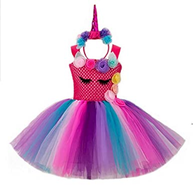 d656636d97f Girls Princess Unicorn Costume Dress Tutu Mesh Dresses Rainbow Flowers  Theme Party Outfit for Kids  Amazon.co.uk  Clothing