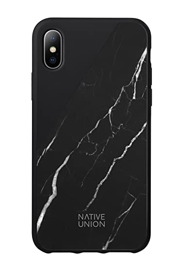 reputable site 51e17 0de46 Native Union CLIC Marble Case - Handcrafted Real Marble Drop-Proof  Protective Cover for iPhone X (Black)