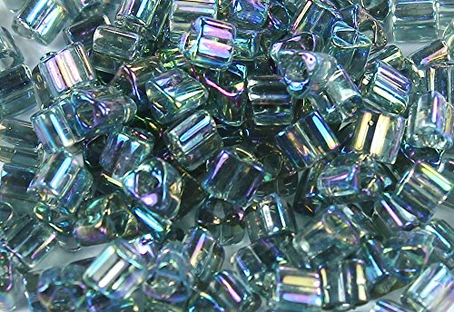 8/0 Triangle TOHO Japanese Glass Seed Beads #176B-Trans-Rainbow Gray 15g