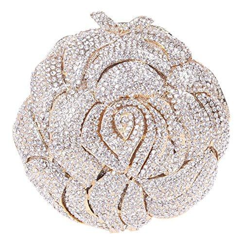 Damen Clutch Abendtasche Handtasche Geldbörse Glitzertasche Strass Kristall Rose Tasche mit wechselbare Trageketten von Santimon(7 Kolorit) Gold
