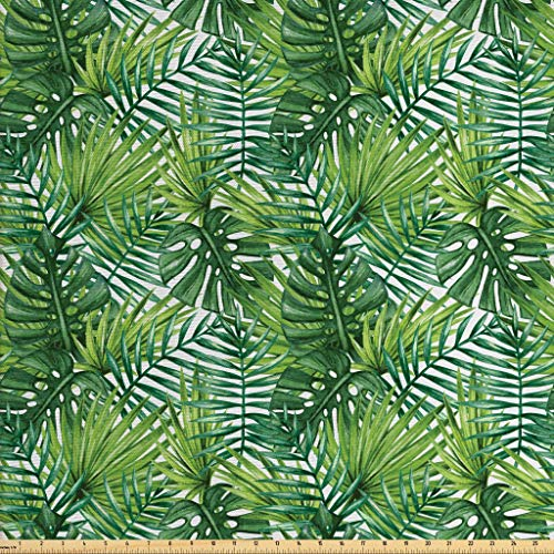 - Ambesonne Leaf Fabric by The Yard, Tropical Exotic Banana Forest Palm Tree Leaves Watercolor Design Image, Decorative Fabric for Upholstery and Home Accents, 1 Yard, Green